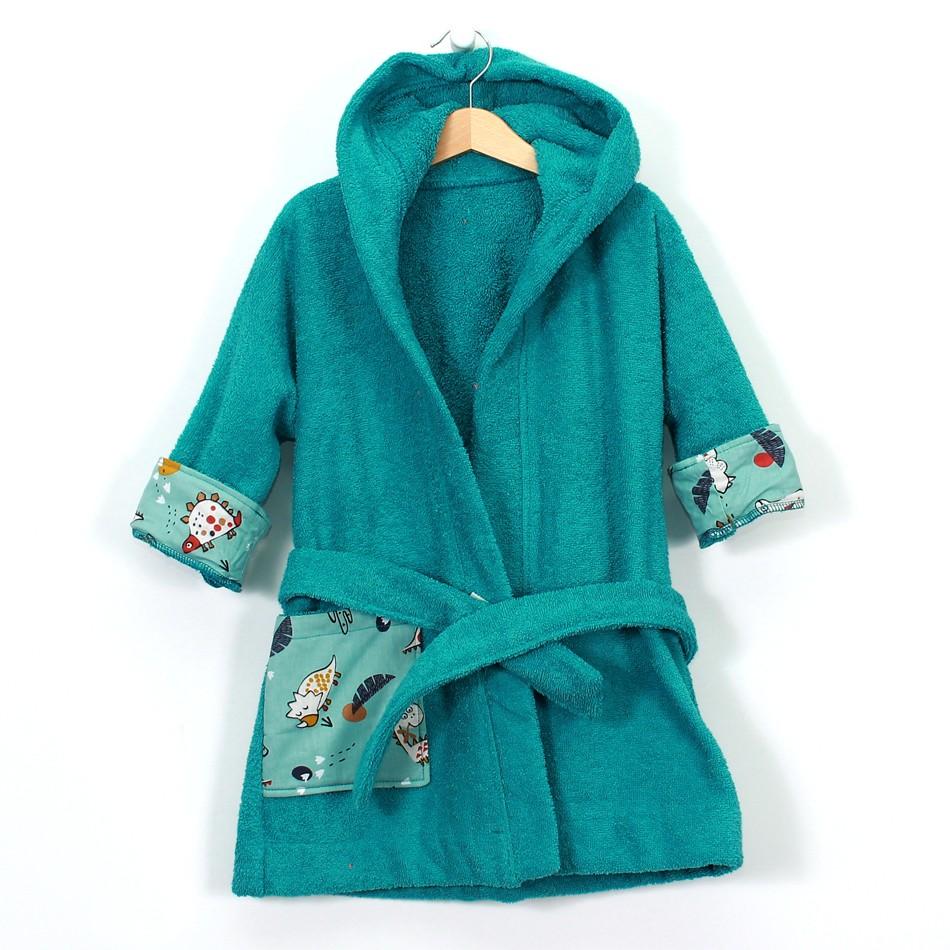 """Детски халат за баня """"Дино зелен"""""""